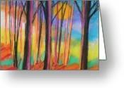 Woods Pastels Greeting Cards - Midday Greeting Card by John  Williams