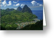 Caribbean Sea Greeting Cards - Midday- Pitons- St Lucia Greeting Card by Chester Williams