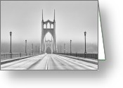 Street Light Greeting Cards - Middle Of Bridge Greeting Card by Chad Latta
