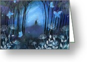 Blues Greeting Cards - Midnight Greeting Card by Amanda Clark