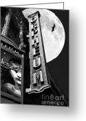 White Wing Greeting Cards - Midnight at The Orpheum - San Francisco California - 5D17991 - Black and White Greeting Card by Wingsdomain Art and Photography