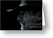Face Shadow Greeting Cards - Midnight Cowboy Greeting Card by Christine Till