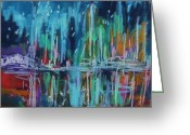Abstract Card Pastels Greeting Cards - Midnight Dance Greeting Card by John  Williams