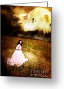 Long Dress Greeting Cards - Midnight Escape Greeting Card by Stephanie Frey