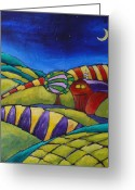 Old Painting Greeting Cards - Midnight Farm    Greeting Card by Inna Novikova