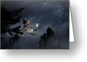 Geese Greeting Cards - Midnight Flight Greeting Card by Reflective Moments  Photography and Digital Art Images