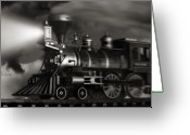 Steam Engine Greeting Cards - Midnight Flyer Greeting Card by Tom Mc Nemar