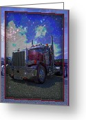 Truck Shows Greeting Cards - Midnight Hauler Greeting Card by Randy Harris
