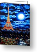 Laura Milnor Iverson Greeting Cards - Midnight in Paris Greeting Card by Laura Iverson