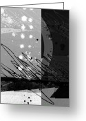 Vertical Abstract Greeting Cards - Midnight in the City 1 triptych Greeting Card by Ann Powell
