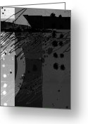Vertical Abstract Greeting Cards - Midnight in the City 2 triptych Greeting Card by Ann Powell