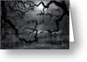 Ghosts Greeting Cards - Midnight in the Graveyard II Greeting Card by James Christopher Hill