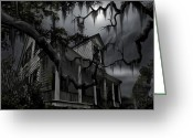Scary Mansion Greeting Cards - Midnight in the House Greeting Card by James Christopher Hill