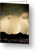 "\""lightning Strike\\\"" Greeting Cards - Midnight Lightning Storm Greeting Card by James Bo Insogna"