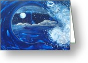 Cole Painting Greeting Cards - Midnight Moon Greeting Card by Danita Cole