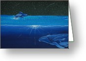 Whale Greeting Cards - Midnight Greeting Card by Nick Flavin