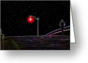 Athletic Digital Art Greeting Cards - Midnight run Greeting Card by David Lee Thompson