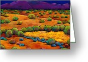 Santa Fe Greeting Cards - Midnight Sagebrush Greeting Card by Johnathan Harris