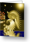 Seashell Art Greeting Cards - Midnight Serenade Greeting Card by Madeline M Allen