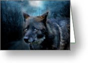 Animal Art Giclee Mixed Media Greeting Cards - Midnight Spirit Greeting Card by Carol Cavalaris
