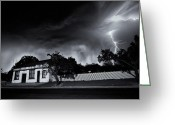 Lightening Storm Greeting Cards - Midnight Storm Monochrome Greeting Card by Tim Nichols