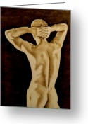 Nudes Pyrography Greeting Cards - Midnight Stretch Greeting Card by Jo Schwartz