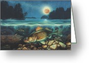 Midnight Greeting Cards - Midnight Walleye Greeting Card by JQ Licensing