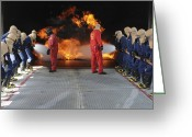 Fireman Boots Greeting Cards - Midshipmen Work Together To Battle Greeting Card by Stocktrek Images