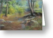 Lanscape Pastels Greeting Cards - Midsummer Days Stream Greeting Card by Bill Puglisi