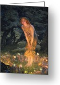 Lamp Light Greeting Cards - Midsummer Eve Greeting Card by Edward Robert Hughes