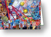 Recreation Mixed Media Greeting Cards - Midway Amusement Rides Greeting Card by Mindy Newman