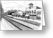 Old Street Drawings Greeting Cards - Midway Kentucky Greeting Card by Laura Brightwood