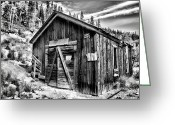 Old Mines Greeting Cards - Midwest Mine 1 BW Greeting Card by Lana Trussell