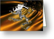 Fractal Greeting Cards - Mighty Lion Greeting Card by Ester  Rogers