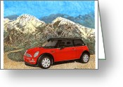 Ornaments Painting Greeting Cards - Mighty Mini Cooper S Greeting Card by Jack Pumphrey