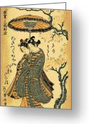 Hair Ornaments Greeting Cards - Migi 1748 Greeting Card by Padre Art