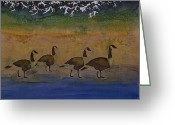Batik Greeting Cards - Migration series geese 2 Greeting Card by Carolyn Doe