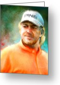 Miki Golf Art Greeting Cards - Miguel Angel Jimenez Greeting Card by Miki De Goodaboom