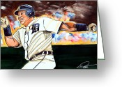 Central Drawings Greeting Cards - Miguel Cabrera  Greeting Card by Dave Olsen