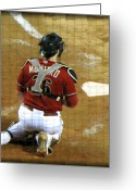Homeplate Greeting Cards - Miguel Montero Greeting Card by Diane Wood