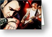 Rock  Painting Greeting Cards - Mike Ness Nuff Said Greeting Card by Al  Molina