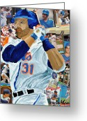 Mlb Mixed Media Greeting Cards - Mike Piazza Greeting Card by Michael Lee