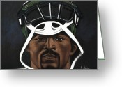 African American Greeting Cards - Mike Vick Greeting Card by L Cooper