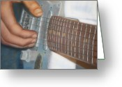 Guitar Pastels Greeting Cards - Mikes Guitar Greeting Card by Laura Leigh McCall