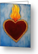 Hearts Greeting Cards - Milagro Greeting Card by Sabina Espinet