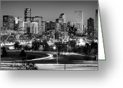 Glass Greeting Cards - Mile High Skyline Greeting Card by Kevin Munro