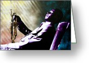 Stencil Art Greeting Cards - Miles Davis Greeting Card by Bobby Zeik