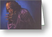 Musicians Pastels Greeting Cards - Miles Davis Greeting Card by Curtis James