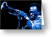 Trumpet Glass Greeting Cards - Miles Davis Greeting Card by Dean Caminiti