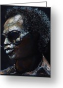 Musicians Pastels Greeting Cards - Miles Davis Greeting Card by Frances Marino